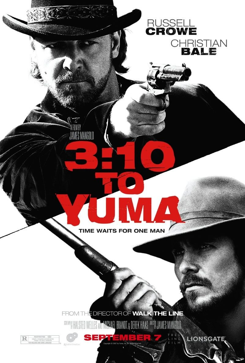 310 to Yuma is a 2007 American Western film directed by James Mangold and produced by Cathy Konrad and starring Russell Crowe and Christian Bale in the lead roles with supporting performances by Peter Fonda Gretchen Mol Ben Foster Dallas Roberts Alan Tudyk Vinessa Shaw and Logan LermanIt is about a droughtimpoverished rancher Bale who takes on the dangerous job of taking a